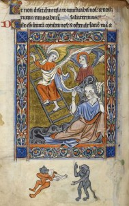 Rutland Psalter (England, c.1260, Latin, Add. MS 62925, British Library), miniature of Jacob's Ladder, before Psalm 80; bas-de-page scene of cannibal hybrids, f. 83v.