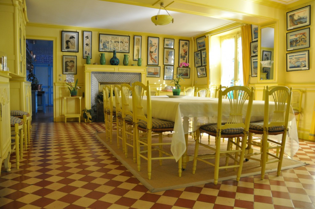 Monet's yellow dining room; photo by Ariane Cauderlier