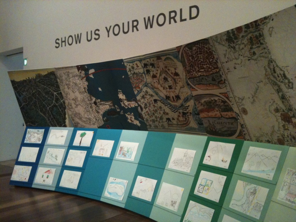 'Show us your world', 2013, paper, fibre-tipped pens, reproductions of maps, paintings and prints, NGV commission by 'Melbourne Now Champions' the Dewhurst Family.