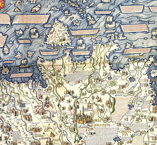 A detail from William Frazer's 1804 copy of Fra Mauro's 1448-53 world map.