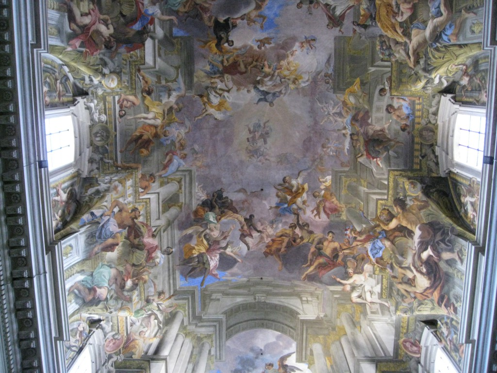 The glorious ceiling fresco in S. Ignazio by Andrea Pozzo, 'Entry of St Ignatius into Paradise', 1691-1694.