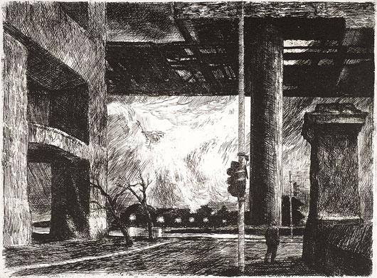 Rick Amor, 'Outlying districts', 2001, etching, 23 x 30.5 (plate). © Rick Amor. Courtesy of the artist and Niagara Galleries, Melbourne.