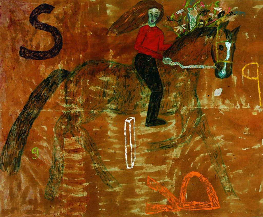 Jenny Watson, 'Spring', 1989, oil, collage, beads, rabbit skin glue and material on canvas, 204.9 x 250.2 cm, Gift of Eva Besen AO and Marc Besen AO 2003, TarraWarra Museum of Art collection.