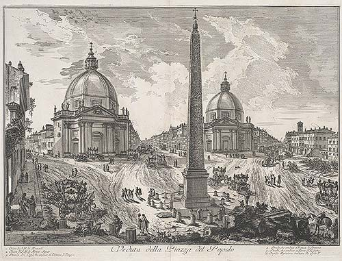Giovanni Battista Piranesi, 'Piazza del Popolo', ca 1750, etching, The Metropolitan Museum of Art, New York.