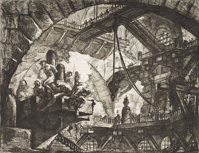Giovanni Battista Piranesi, 'Prisoners on a Projecting Platform', from 'Carceri', 1749-50. Edition: Francesco Piranesi, 1800-07, Baillieu Library, University of Melbourne.