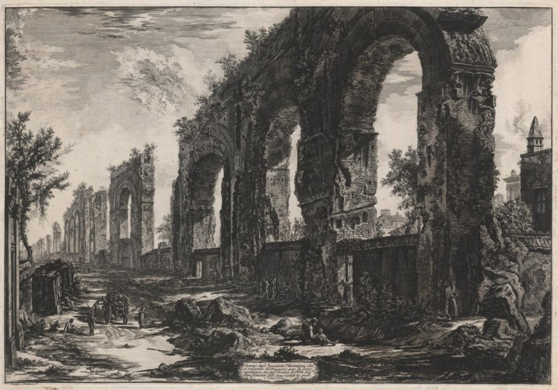 Giovanni Battista Piranesi, 'Remains of the Aqueduct of Nero', ca. 1760-78, etching, Baillieu Library Collection, The University of Melbourne.