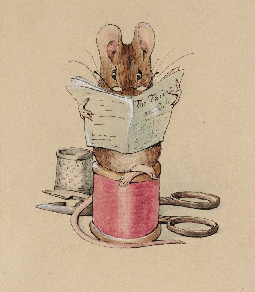 Helen Beatrix Potter, 'Frontispiece: The Tailor Mouse', From Illustrations for 'The Tailor of Gloucester', c.1902, ink, watercolour and gouache on paper, 111 x 92 mm, Tate, London.