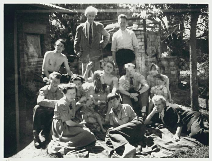 Family and friends at Open Country, c.1951, (Left to right, back) David Boyd, Merric Boyd, Hatton Beck, (Left to right centre) Guy Boyd, Lucy Boyd (with child), Mary Boyd, John Perceval, unidentified, Yvonne and son Jamie Boyd, (Left to right, front) Doris Boyd, Arthur Boyd, Joy Hester