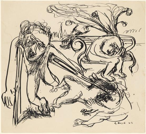 Arthur Boyd, 'Figure with crutches, fallen figure and figures on bench', 1942, reed pen and ink, National Gallery of Victoria, Melbourne.