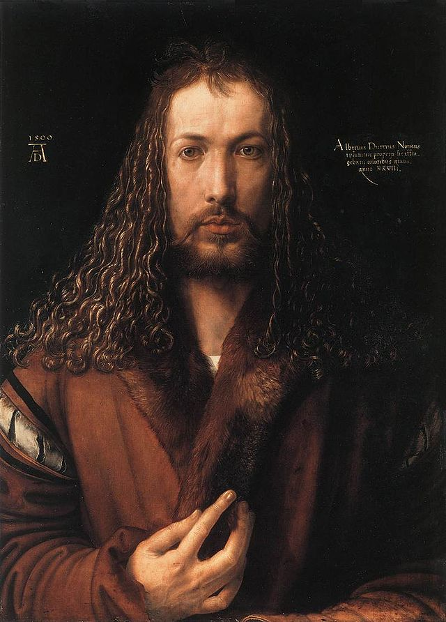 Albrecht Durer, Self-portrait, 1500, oil on panel, Alte Pinakothek, Munich