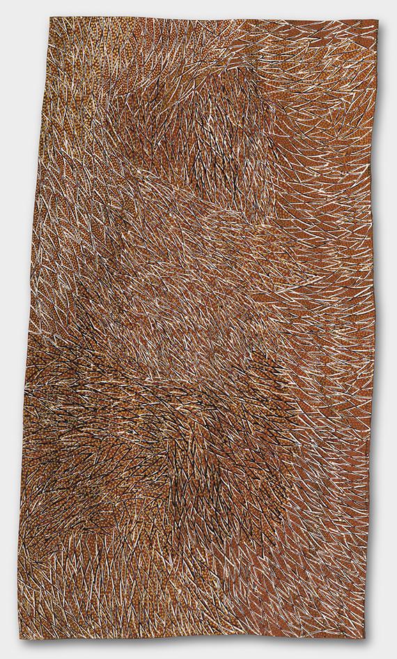 Gulumbu YunupinguGarak, The Universe 2008, natural earth pigments on eucalyptus bark, 137 x 77 cm, Purchased 2009, National Gallery of Australia, Canberra, © Estate of the artist, Buku-Larrnggay Mulka Centre, Yirrkala