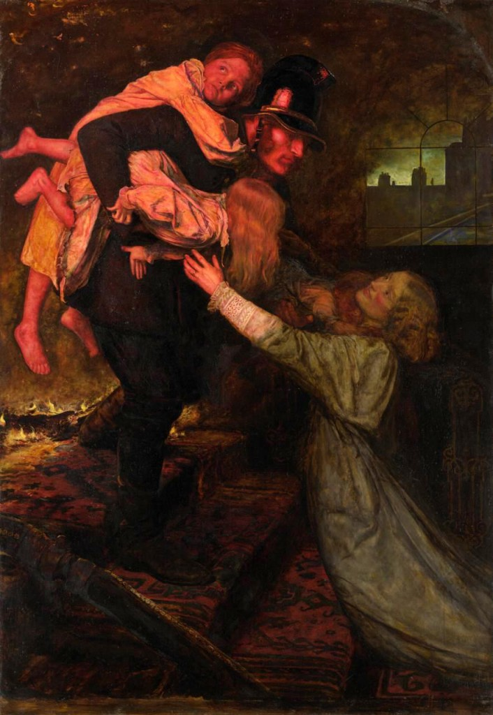 John Everett Millais, 'The rescue', 1855, oil on canvas, National Gallery of Victoria, Melbourne.
