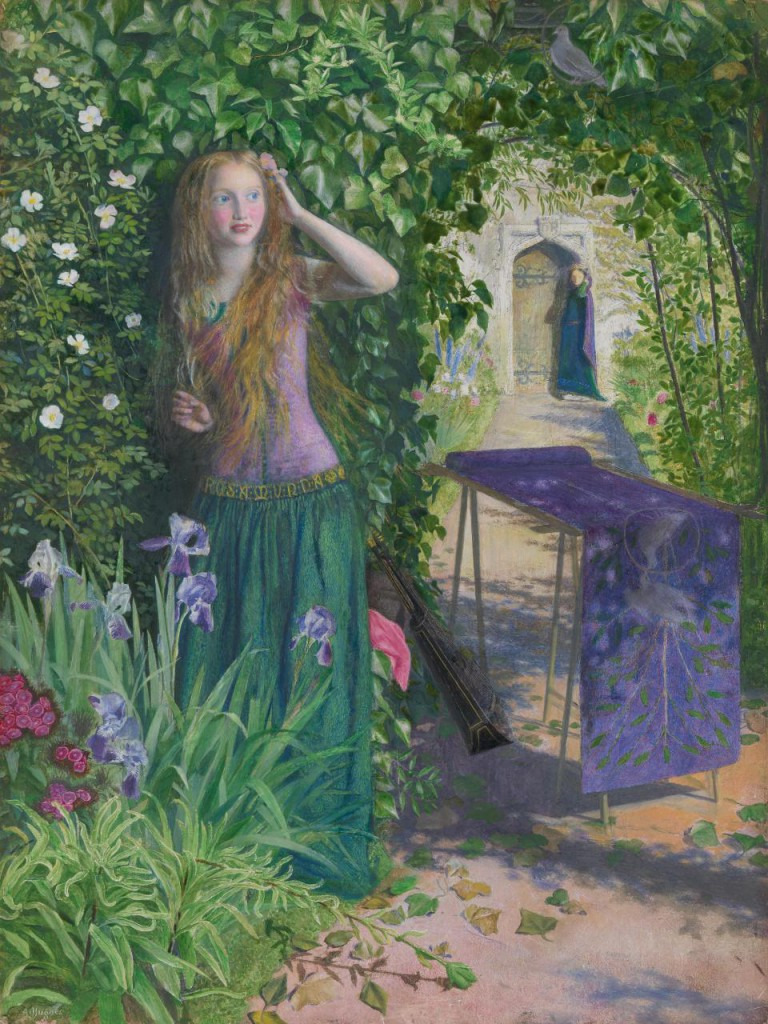 Arthur Hughes, 'Fair Rosamund', 1854, oil on wood panel, 40.3 x 30.5 cm, National Gallery of Victoria, Melbourne.