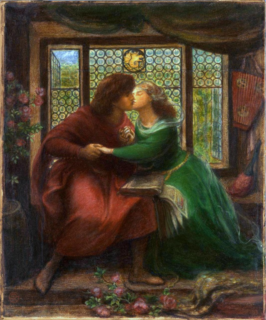 Dante Gabriel Rossetti, 'Paolo and Francesca da Rimini', 1867, watercolour, gouache and gum arabic over pencil on 2 sheets of paper, 43.7 x 36.1 cm, National Gallery of Victoria, Melbourne.