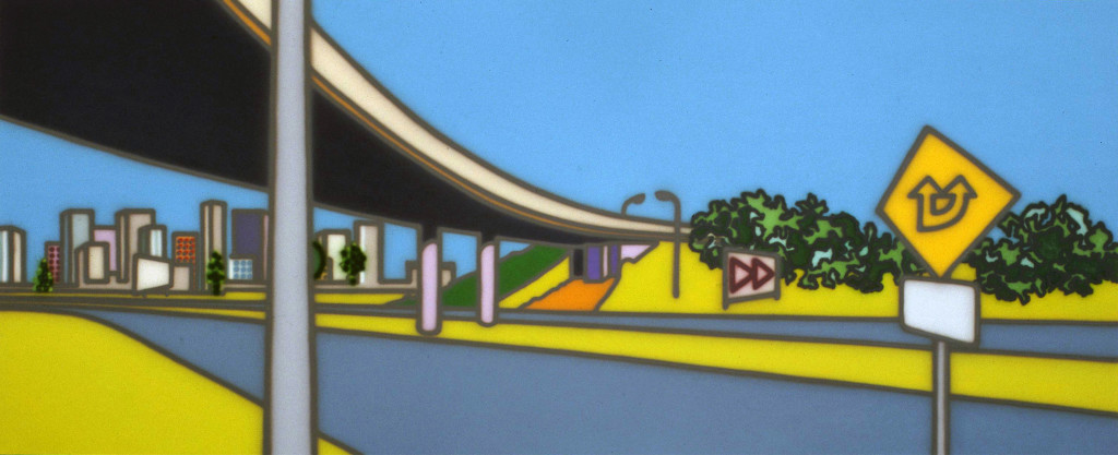 Howard Arkley, 'The Freeway', 1999, synthetic polymer paint on canvas, 150 x 366 cm, collection of Wood Marsh Architecture, © The Estate of Howard Arkley. Courtesy Kalli Rolfe Contemporary Art.