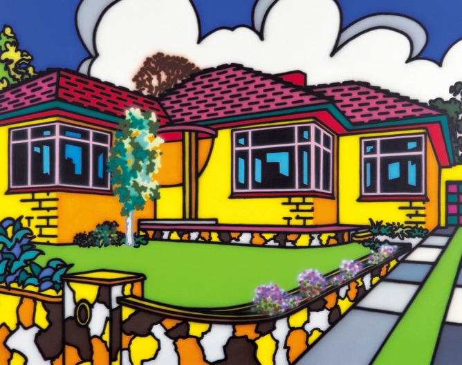 Howard Arkley, 'Family Home – Suburban Exterior', 1993, synthetic polymer paint on canvas, 203 x 254 cm, Monash University Collection, Melbourne. © The Estate of Howard Arkley. Courtesy of Kalli Rolfe Contemporary Art.