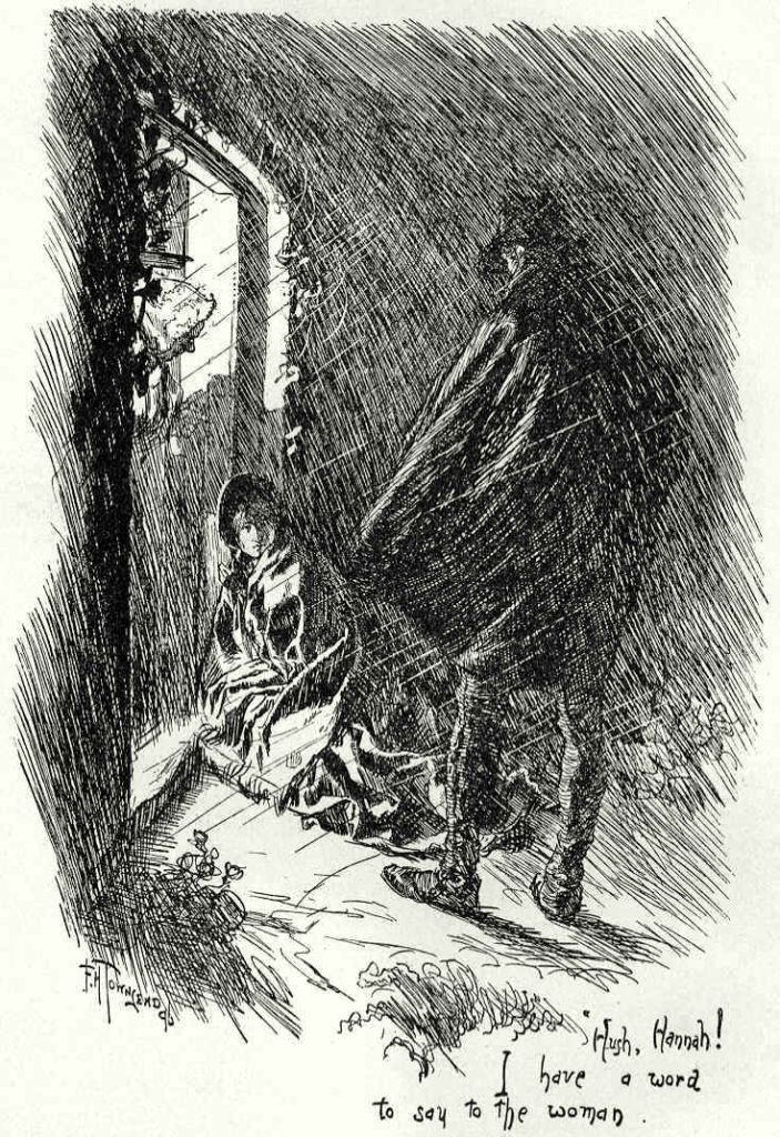 St. John Rivers admits Jane to Moor House. Illustrator: F.H. Townsend, 1897, 'Jane Eyre: An autobiography'