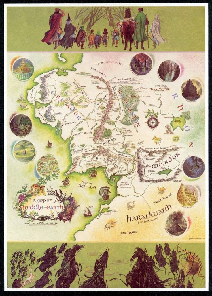 Pauline Baynes' map poster of Middle-earth published in 1970 by George Allen & Unwin and Ballantine Books