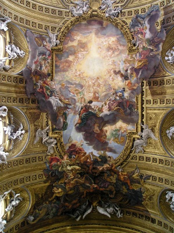 Giovanni Battista Gaulli, 'Triumph of the Holy Name of Jesus', 1672-85, ceiling fresco, Il Gesu, Rome