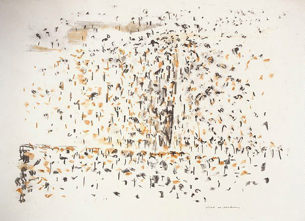 Fred Williams, 'Landscape Drawing No. 3', 1963, black, white, ochre pastel on wove paper, 55.1 x 76 cm, Art Gallery of NSW, Sydney