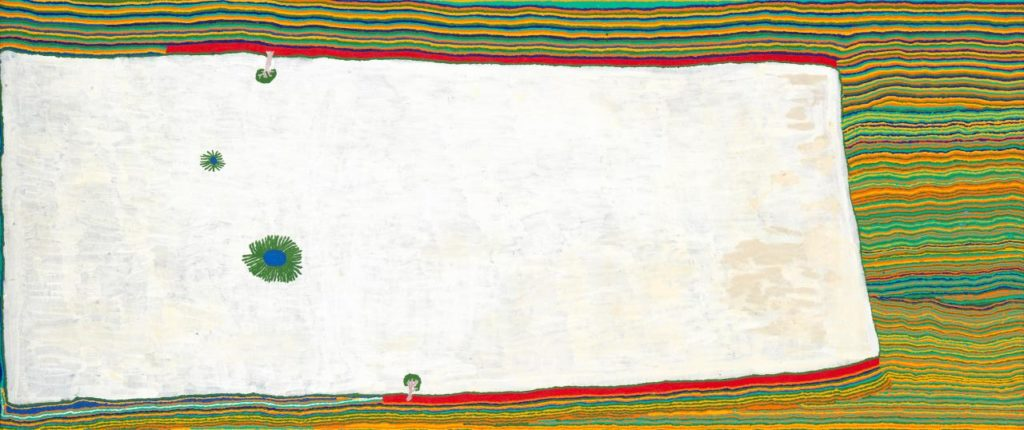 Muntararr Rosie Williams and Yikartu Bumba, Yimiri, 2009, synthetic polymer paint on canvas, 296.6 × 125.3 cm, Punmu, Western Australia