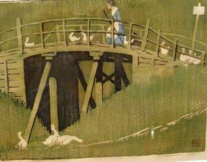 Image 3 - Ethel Spowers, 'The Green Bridge', 1926, colour linocut.