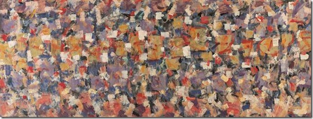 Roger Kemp, 'Movement in colour', c.1975-76, acrylic on canvas, 129.2 x 344.5 cm, TarraWarra Museum of Art collection