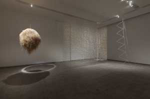 Louise Weaver, 'Hiding in Plain Sight' (Witch Grass Nest) 2011-12, 'Bird Hide' 2011, 'Time to Time' 2013, installation view 'Animate/Inanimate', TarraWarra Museum of Art 2013. Photo: Mark Ashkanasy; courtesy of the artist and Darren Knight Gallery, Sydney.