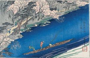Utagawa Hiroshige, 'Full Blossom at Arashiyama', c. 1834, woodblock print.