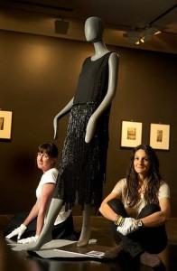 Gabrielle Chanel (designer), 'Dress', 1924, silk, glass beads, National Gallery of Victoria curators Paola Di Trocchio and Susan Van Wyk. Photo: Simon Schluter.