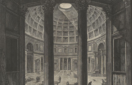 Giovanni Battista Piranesi, 'Veduta interna del Panteon (View of the interior of the Pantheon)', 1760s-70s, etching and engraving, State Library of Victoria.