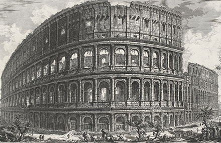 Giovanni Battista Piranesi, 'Veduta dell' Anfiteatro Flavio, detto il Colosseo (View of the Colosseum, or Flavian Amphitheatre)', 1765–78 impression, etching and engraving, State Library of Victoria.