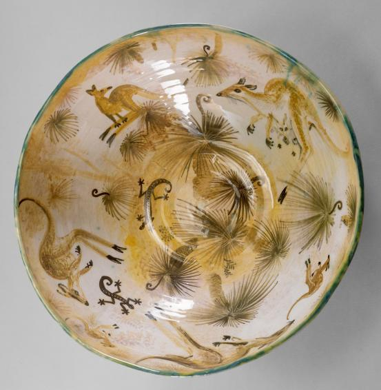 Arthur Merric Boyd Pottery, Earthernware Bowl, 1947, Neil Douglas(decorator), John Perceval (potter)