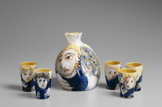 Arthur Merric Boyd Pottery, Arthur Boyd (decorator), Decanter set, 1948, earthenware, National Gallery of Victoria, Melbourne