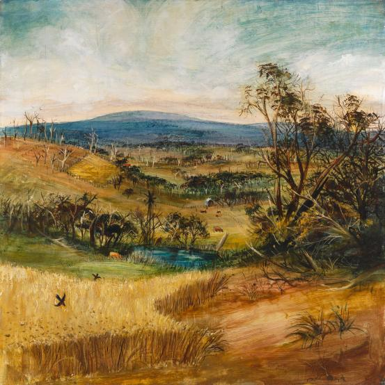 Arthur Boyd, 'The wheatfield', 1948, Harkaway, Victoria oil on composition board, National Gallery of Victoria, Melbourne.