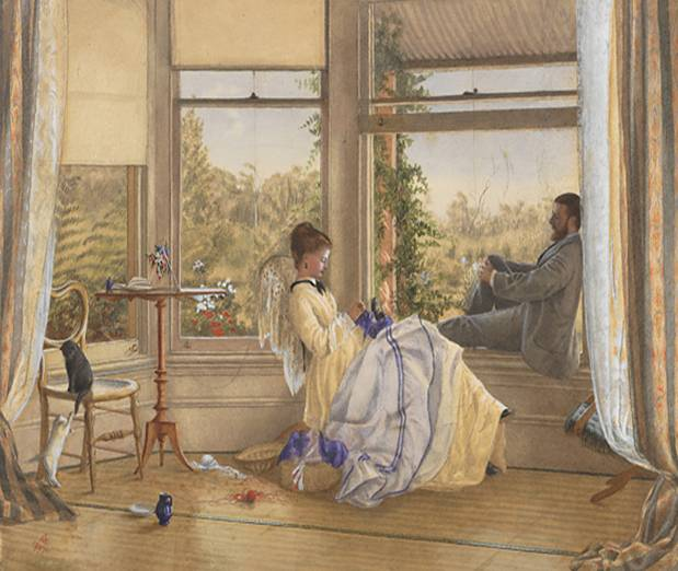 Emma Minnie Boyd, 'Interior with figures, The Grange', 1875, watercolour over pencil on paper on cardboard, 24.7 x 35.5 cm, National Gallery of Victoria, Melbourne.