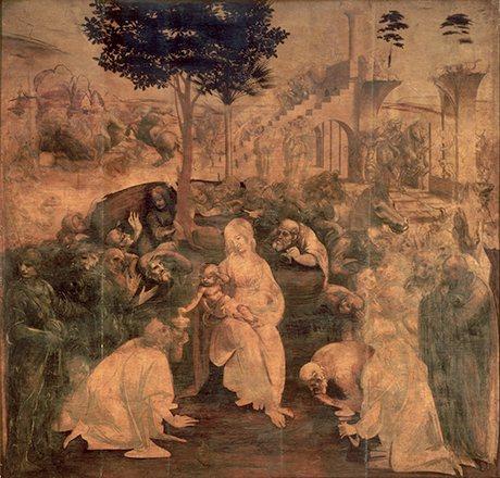 Leonardo da Vinci, 'Adoration if the Magi', 1481, Galleria degli Uffizi, Florence