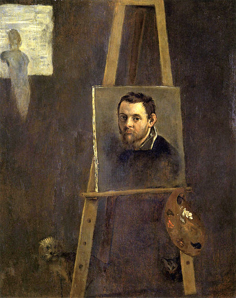 Annibale Carracci, 'Self-portrait on an easel in a Workshop', c. 1605, oil on wood, 370 x 320mm, Uffizi, Florence