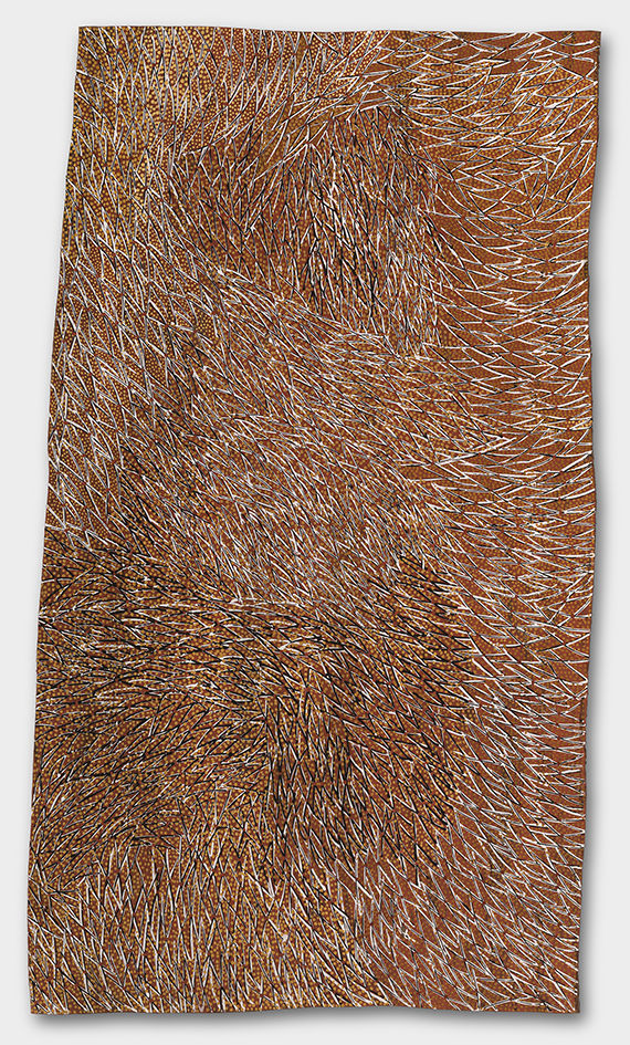 Gulumbu YunupinguGarak, The Universe 2008, natural earth pigments on eucalyptus bark, 137 x 77 cm, Purchased 2009, National Gallery of Australia, Canberra, © Estate of the artist, Buku-Larrnggay Mulka Centre, Yirrkala