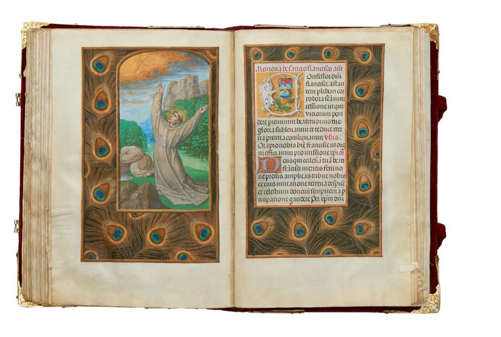'St Francis Receives the Stigmata'. Suffrage, The Rothschild Prayer Book, fols 225v-226r