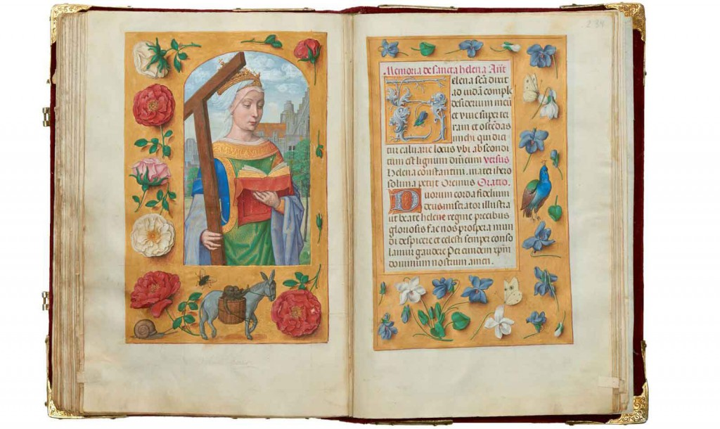 'St Helena'. Suffrage [strewn flowers, donkey, fly and snail], The Rothschild Prayer Book, fols 233v–234r