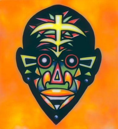 Howard Arkley, 'Zappo Head', 1987, synthetic polymer paint on canvas, 182.5 x 168 cm, Bendigo Art Gallery, Victoria. © The Estate of Howard Arkley. Courtesy of Kalli Rolfe Contemporary Art.