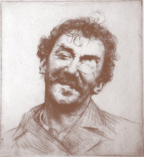 Mortimer Menpes (British, 1860–1938), Portrait of Whistler, c. 1880s, drypoint and etching, Gayle McJunkin Collection.