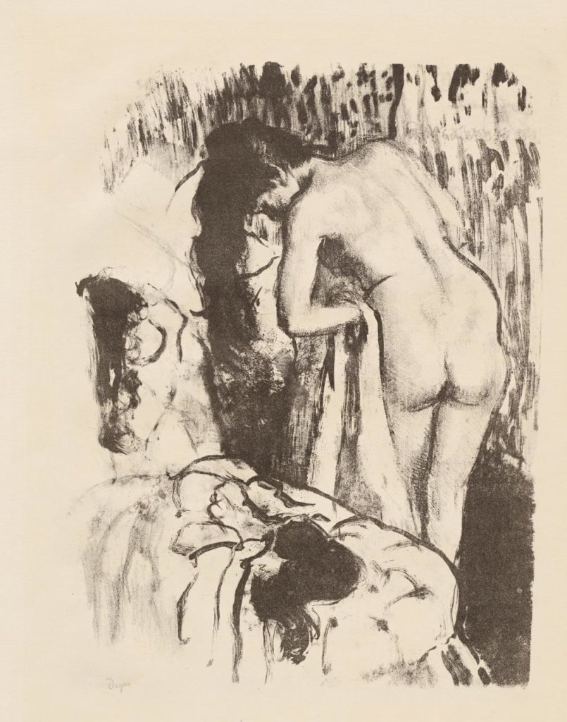 Edgar Degas, 'Nude woman standing, drying herself', 1891–92, lithograph, fourth of six states, 33.1 x 24.8 cm (stone), 44.8 x 36.2 cm (sheet), Sterling and Francine Clark Institute, Williamstown, Massachusetts.
