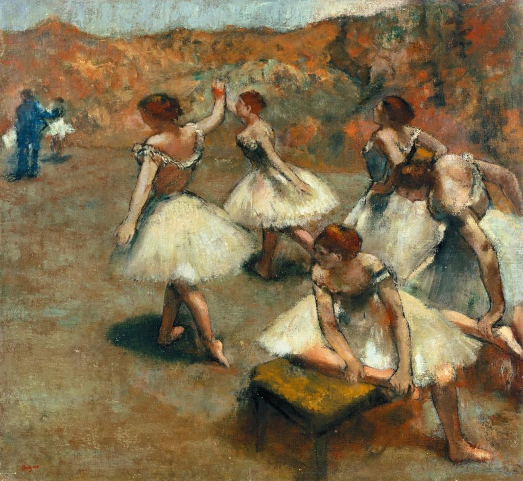 Edgar Degas, 'Dancers on the stage', c. 1899, oil on canvas 76.0 x 82.0 cm, Musée des Beaux-Arts de Lyon.