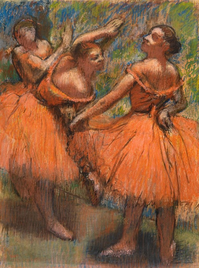 Edgar Degas Group of dancers (red skirts) (Groupe de danseuses (Jupes rouges))1895–1900 pastel 77.0 x 58.0 cm Lent by Glasgow Life (Glasgow Museums) on behalf of Glasgow City Council: from the Burrell Collection with the approval of the Burrell Trustees.