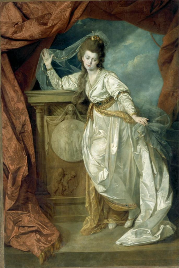 Johan Zoffany, 'Elizabeth Farren as Hermione in The Winter's Tale', c. 1780, oil on canvas, 243.3 × 166.0 cm irreg. (image) 244.2 × 166.7 cm irreg. (canvas), NGV, Melbourne